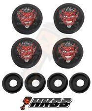 4 Black Custom License Plate Frame Tag Screw Cap Covers - RED DEVIL 1%er 4GW