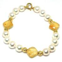 Pulsera Oro Amarillo 18K 750 ,Cuarzo Citrino,Perlas Blancas,Esferas Feature