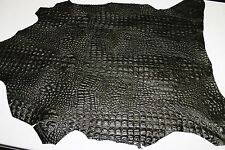 Italian strong CALF leather skins GREEN OLIVE ALLIGATOR CROCODILE EMBOSSED 6sqf