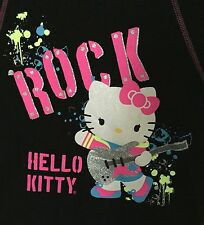 Hello Kitty girls' size L sparkly black blouse shirt Large 10-12 rock guitar EUC