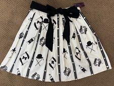 Rock Steady Swing Skirt 1X Off White Black Rockabilly Pleats Hearts Western NWT