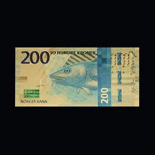 WR 2017 Nok Norwegian Bill Color Gold Norway 200 Kroner Banknote Collector Item