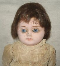 Antique Wax doll- Paper Mache' head wax is gone- hh wig- glass eyes-compo limbs