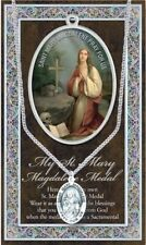 St Mary Magdalene Medal, Chain & Prayer Card - with Stainless Steel Chain