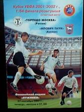 Programme Torpedo Moscow Russia - Ipswich Town England 2001-02 UEFA Cup