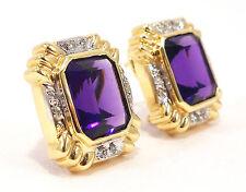 14k Solid Gold Amethyst Earrings Diamond Accent Fine Regal Fancy Free Shipping