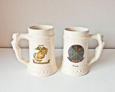 Rare Vintage Marine Beer Steins, 2 Marine Mugs, MACS-4 Mug, Naked Lady Handle