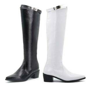 Women's Solid Mid Calf Knee Boots Pull On Chunky Heel Pointy Toe Knight Shoes L