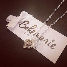 18 Inch love heart charm necklace gemstone bijoux jewellery boho gypsy jade