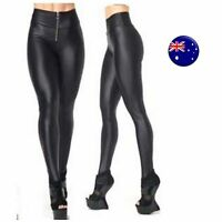 Women Black High waist front zipper Shine Faux Leather Leggings Pants Jeggings