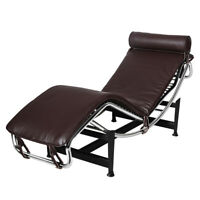 Luxuy Le-corbusier Style Chaise Lounge Recliner Chair Genuine Leather Brown