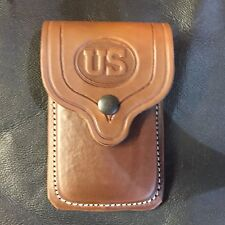 Colt 1911 Leather Double Mag Magazine US Logo Brown Pouch Holder