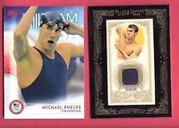 MICHAEL PHELPS WORN RELIC ALLEN & GINTER & 2016 TOPPS CARD USA RIO OLYMPICS GOLD