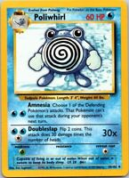 Vintage 1999 Basic Pokemon Poliwhirl water #61 Common 38/102 60 HP Single Card