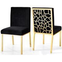 "Meridian Furniture Opal 20""H Velvet Dining Chair in Black (Set of 2)"
