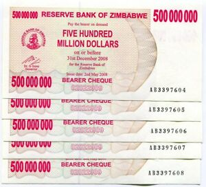 Zimbabwe 500 Million Dollars 2008 Bearer Cheque UNC P60 AB Currency x 5 Pieces