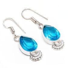Blue Topaz Gemstone 925 Sterling Silver Handmade Earring Jewelry 1.5 Inch 7099