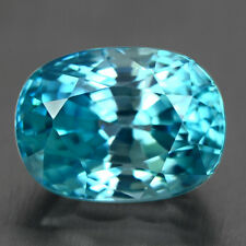 BLUE ZIRCON - 6.06 CT. 10.8 x 8.0x7.0 mm 100% Natural CAMBODIAN Very Good-Luster