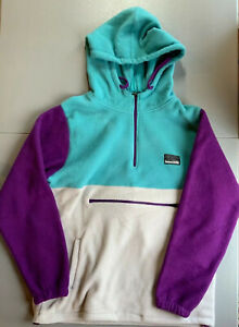 Free Nature Hoodie Small, Purple, Teal and Gray, Front Zipper Pocket.