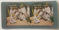 Starting a Cock Fight Manila Philippine Islands Colored Stereoview Card 1903