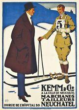 Vintage Ski Poster KEMM & CO. WINTERSPORTS CLOTHES, Swiss, 1916, Travel Print