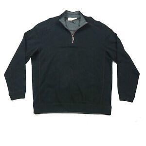 Tommy Bahama Flip Side Reversible Fleece 1/4 Zip Sweatshirt Top Black Grey Large