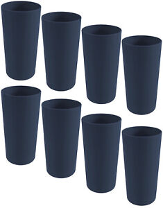 Mainstays Plastic Tumblers, 26 Ounce, Set Of 8, Dark Blue, Drinking Glasses NEW