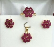 14k Solid Gold Cluster Flower Set Earrings Ring Pendant, Natural Ruby 7.5TCW
