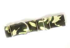 "1.5"" Martingale Dog Collar GREEN CAMO Greyhound Lurcher 12""-17"" MEDIUM"