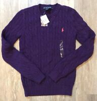 Polo Ralph Lauren Women's Purple Cable Knit Sweater Size SMALL NEW NWT