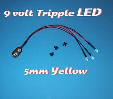 ONE PRE WIRED LED 9 VOLT TRIPPLE YELLOW WITH SNAP 9V PREWIRED TRIPLE (Halloween)