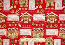 Timeless Treasures Christmas Gingerbread Cookie House Red Cotton Fabric YARD