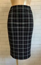 BLACK WHITE CHECK PRINT CASUAL PENCIL TUBE WIGGLE STRETCH KNEE SKIRT SIZE 10-18