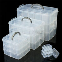 Jewelry Bead Plastic Organizer Container Craft Clear Storage 3 Layer Box Case