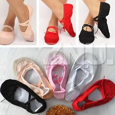 mujer niña Lona Danza Ballet Zapatos zapatillas Puntera FITNESS GIMNASIA