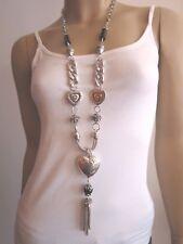 Modekette lang Damen Hals Kette Bettelkette Modeschmuck Silber Schwarz Herz BR15