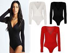 New women Ladies Long Sleeve Wrap Front Stretch Bodysuit Women  Top Size 8-14