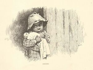 Black Child, Ebenezer, by Kemble, Vintage 1898 Antique Art Print Very Cute !