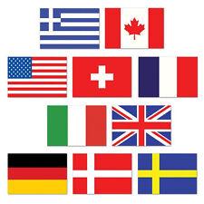 10 INTERNATIONAL FLAG MINI CUTOUTS PARTY DECORATIONS CANADA USA ITALY BRITAIN