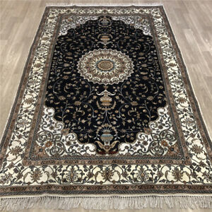 YILONG 5'x8' Home Decor Classic Silk Area Rug Blue Hand Knotted Carpet 476C
