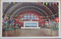 Saugatuck, MI 1940s Linen Postcard: Interior, Big Pavilion - Michigan Mich
