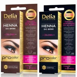 DELIA HENNA GEL Professional TINT KIT For Eyebrows & Eyelashes Dark Brown/Black