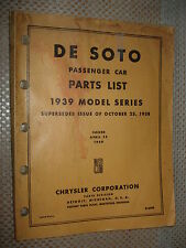 1939 DE SOTO PARTS BOOK ORIGINAL NUMBERS LIST CATALOG CARS RARE OEM