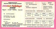 Airline Passenger Ticket ~ British Airtours - Intasun: Birmingham Alicante 1985