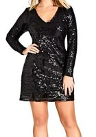 City Chic Women's Dress Deep Black Size XL Sheath Sequin V-Neck Mini