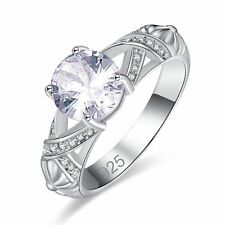 Elegant Round Cut White Sapphire Gemstone Silver Wedding Band Ring Size L N P R