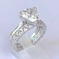 Engagement Plus Wedding Ring Set Solid Sterling Silver 925 Simulated Diamonds