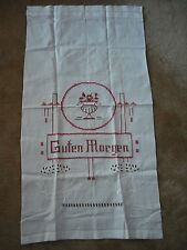 Vintage German Guten Morgen Wall Hanging Banner Embroidered Cut Work Germany