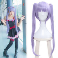 NEW GAME Suzukaze Aoba Anime Cosplay Wig Long Straight Purple Hair + 2 Ponytails