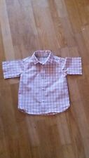 Boys Nutmeg age 2-3 years smart peach and grey check short sleeved shirt